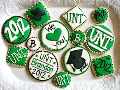 UNT Graduation coordinating cookie set   www.facebook.com/tinykitchencakery