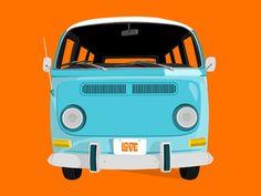 Van-a-Love by Yaron Schoen, via Behance Man Cave Gear, Car Man Cave, Vw Bus T2, Vw T1, Volkswagen Beetles, Volkswagen Bus, Kombi Clipper, Bus Drawing, Bus Art