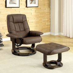 Leatherette Swivel Recliner Chair and Ottoman >>> You can get more details by clicking on the image.