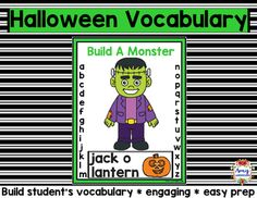 Halloween Vocabulary Game - Introduce your students to a fun and engaging way to learn vocabulary. Simply print the game and teach your students to play hangman with a Frankenstein.Included:35 vocabulary cardsMonster Game Board with letter trackingMonster partsYou may also be interested in:Fall VocabularyHalloween Reading PassagesConnect with Amy LabrascianoBe sure to follow my TpT store by clicking on the red Follow Me next to my Seller picture to receive notifications of new products and…