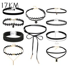 2a7195b58 10 PCS Set Gothic Tattoo Leather Choker Necklaces Set for Women Hollow Out  Black Lace Necklace Jewelry Collier Chain