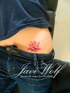 Red Lotus Flower Tattoo Deisgn for Women.