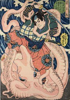 Hatsuhana Prays Under a Waterfall, di Utagawa Kuniyoshi