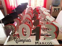 Graduation table centerpieces to order email me at . Graduation Table Centerpieces, Graduation Party Themes, College Graduation Parties, Graduation Celebration, Graduation Decorations, Graduation Party Decor, Graduation Ideas, Graduation 2016, Grad Parties