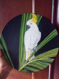 plato base pintado, coleccion pajaros