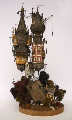ʂŧɘąɱ ~ Steampunk & Victoriana ~ The two towers 01 by Steampunk Kunst, Steampunk House, Steampunk Airship, Architectural Sculpture, The Two Towers, 3d Fantasy, Modelos 3d, Paperclay, Environment Design