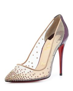 Follies Crystal Mesh Red Sole Pump, Silver/Nude by Christian Louboutin at Neiman Marcus.