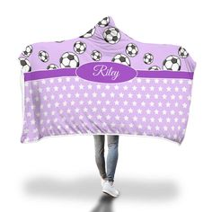 Purple Soccer and Stars Hooded Blanket – Designing on Wine Hooded Blanket, Soccer Players, Little Ones, Your Favorite, Baby Car Seats, Blankets, Hoods, Cozy, Wine