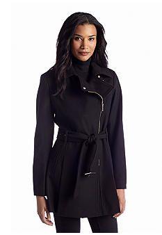 Kenneth Cole Side Zip Notch Collar Belted Wool Blend Coat