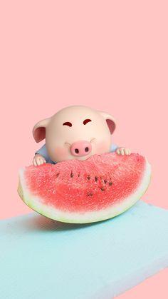 Pig Wallpaper, Animal Wallpaper, Flower Wallpaper, Iphone Wallpaper, This Little Piggy, Little Pigs, Cute Piglets, 3d Art, Pig Illustration