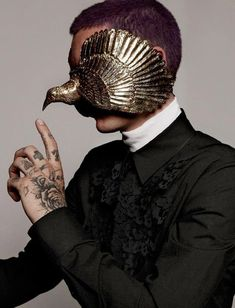 Very cool mask. avant garde fashion | victorian avant garde dark fashion aestetics dark jewelry ... #victorian #ink #art