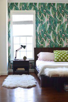 Nana (Pink) wallpaper accent wall via Design Addict Mom Interior Design Home Accent Wall Bedroom, Bedroom Decor, Master Bedroom, Accent Walls, Modern Bedroom, Wall Decor, Nana Wall, Trendy Home, Awesome Bedrooms