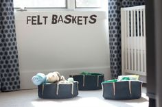 These felt baskets are not only adorable (and easy to make!) but they are perfectly soft for little hands. For instructions go to http://theb-line.blogspot.com/2011/06/felt-storage-bowls-tutorial.html