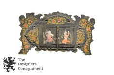 Antique Hand Painted Indian Vanity Decorative Art Mirror Figural Floral Design | The Designers Consignment