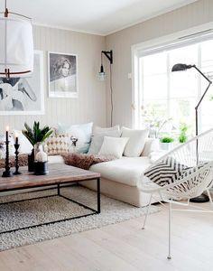 modern black and white family room decor