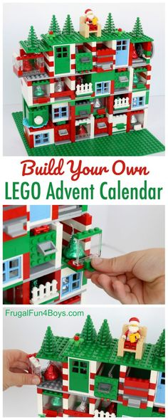 DIY LEGO®️️️️ advent calendar that you can build yourself! Create an epic Christmas countdown with 24 doors to open. Each space can hold a Hershey's kiss or another similar candy. Designing the advent calendar is a fantastic LEGO®️️️️ challenge for kids. Lego Christmas, Noel Christmas, Christmas Is Coming, Christmas Calendar, Christmas Tables, Nordic Christmas, Modern Christmas, Christmas Girls, Christmas Countdown 2017