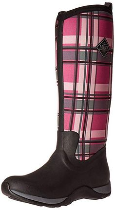 265a1f7d89 Muck Boots Women's Arctic Adventure Plaid Wellington Boots, Black  (Black/Pink),