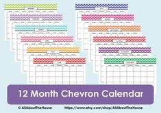 Printable CalendarPerpetual CalendarChevron by AllAboutTheHouse, $4.50