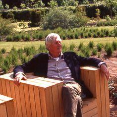 Piet Oudolf enjoying his work at Scampston Hall, Walled Garden, Malton, North Yorkshire, UK.  _/\/\/\/\/\_