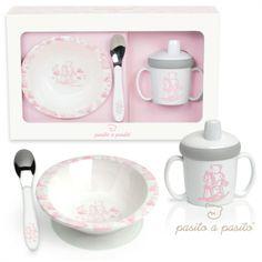 Coffret repas nourrisson 3 pièces rose : Pasito a pasito - Coffret repas - Berceau Magique