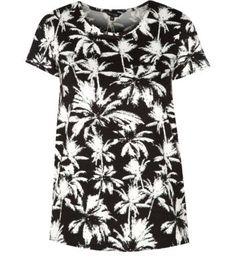Black Palm Tree Print T-Shirt