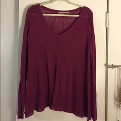 American Rag Sweater This pull-over sweater is in a beautiful purple/pink color (fuchsia?). It is in great condition with minor wear. It is a little bit sheer, so I would wear a tank underneath. It has beautiful detailing at the top and bottom. Although I took off the tag, it is in a 1X. It is VERY stretchy, and thin (which is perfect for Spring). ❤️ American Rag Sweaters V-Necks