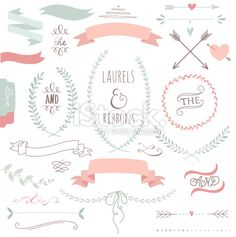 Wedding graphic set with ribbons and wreaths Royalty Free Stock Vector Art Illustration
