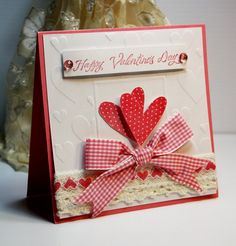 Handmade Card - Greeting Card - Happy Valentines Day -  Love  - Valentines - Anniversary - Stampin Up - OOAK