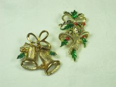 Vintage Christmas Pin Holiday Bells Brooch Set of 2  by LavenderGardenCottag
