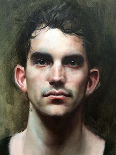 Mitch Griffiths (English, b. 1971), oil on canvas {figurative realism art male head man face portrait cropped painting #loveart} mitchgriffiths.com #OilPaintingMan