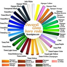 Devardi Glass Rods and Supplies: Boroscilicate, Boro COE 33