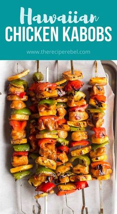 These Hawaiian Chicken Kabobs are sweet and savory, loaded with tender chicken breast, pineapple chunks, bell peppers and an easy pineapple BBQ marinade! The perfect prep-ahead summer meal. #chicken #chickenbreast #kabob #grilling #dinner Best Chicken Recipes, Beef Recipes, Cooking Recipes, Walnut Recipes, Duck Recipes, Easy Recipes, Vegan Recipes, Homemade Coleslaw, Homemade Bbq