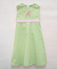Look what I found on #zulily! Green Monogram Check Seersucker Initial Dress - Infant, Toddler & Girls #zulilyfinds