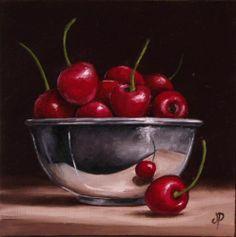 Cherries in Silver, J Palmer Daily painting Original oil still life Art
