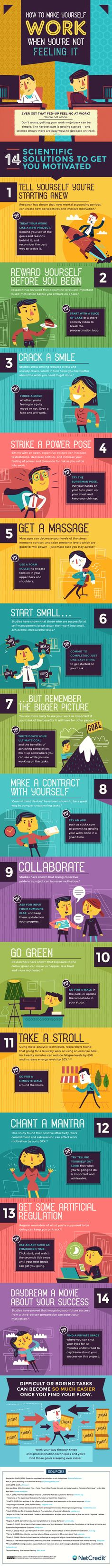 How to Make Yourself Work When You're Not Feeling It Infographic - http://elearninginfographics.com/make-yourself-work-when-youre-not-feeling-it-infographic/