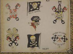 Traditional Flash, Traditional Tattoo Flash, American Traditional, Pirate Tattoo Flash, Vintage Tattoo Design, Tattoo Flash Sheet, Biker Tattoos, Skeleton Tattoos, Vintage Flash