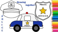 How to draw a Police Car, a Police Cap, a Police Badge, Drawing Coloring...