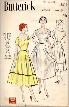 Butterick 5317 1950s Misses Swirl Skirted Dress with Heat Shaped  Neckline womens vintage sewing pattern  by mbchills