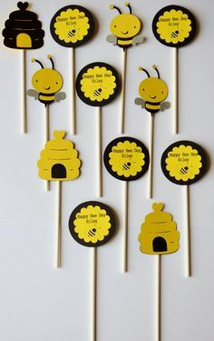 This item is unavailable Bee Crafts, Crafts For Kids, First Birthday Parties, First Birthdays, Bumble Bee Birthday, Birthday Centerpieces, Bee Happy, Cupcake Toppers, Decoration