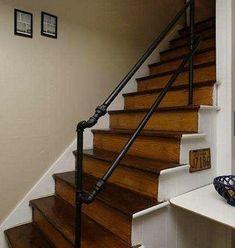 Railing for Front Porch Steps . Railing for Front Porch Steps . Porch Step Railing, Porch Handrails, Front Porch Stairs, Pipe Railing, Outdoor Stair Railing, Modern Stair Railing, Stair Banister, Stair Railing Design, Porch Steps