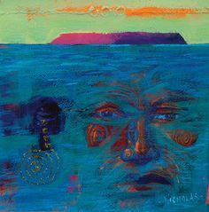 Mana Island, Spirits by Darcy Nicholas kp Modern Indian Art, Maori People, Australian Art, Art Auction, New Zealand, Island, Artist, Model, Painting