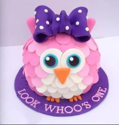 Hoot LOOK WHO'S ONE cake
