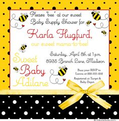 Bumblebee Supply Shower Invitation - Yellow & Black with Optional Red Accents