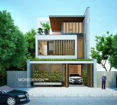 Visit the post for more. Modern Tiny House, Modern House Plans, Modern House Design, Modern Architecture House, Residential Architecture, Architecture Design, Modern Properties, House Elevation, Villa Design