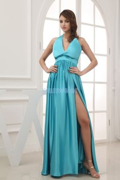 free shipping 2014 new design floor length brides maid dress split ky blue maxi long dress formal dress sexy Bridesmaid Dresses