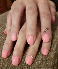 Pink nails with strass