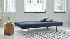 Heal's Hinge Sofa Bed In Dessin Fabric Charcoal