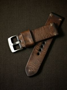 """Clive"" Brown Handmade Leather Tapered Watch Strap - Bas and Lokes"