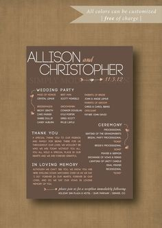 I like this format and writing on the brown craft paper for wedding programs