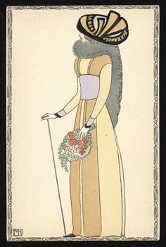 Wiener Werkstätte postcard, woman in a hat, illustrated by Mela Koehler, ca. 1910.